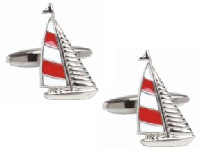 New Yacht Design Novelty Cufflinks (Red & Blue Sailed Variants)